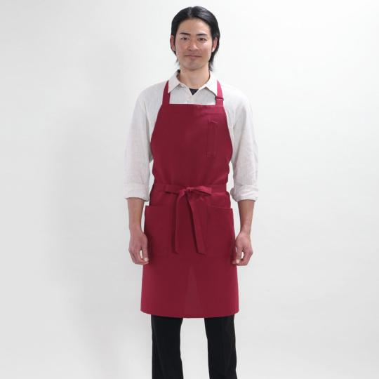 メンズ胸当付レギュラー丈エプロン(撥水油・防汚・制電・E100%)[ワイン]